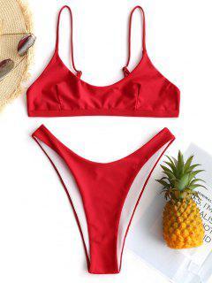 Conjunto De Bikini Bralette De Corte Alto - Rojo M