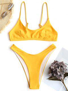 Hohe Schlitz Bralette Bikini Set - Gelb M