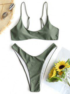 Padded Bikini Top And High Cut Bottoms - Army Green L