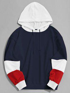 Color Block Hoodie Men Clothes - Purplish Blue L