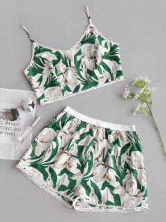 Flower Cami Crop Top And Shorts Set - Floral L