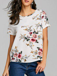Casual Short Sleeve Floral T-shirt - White Xl