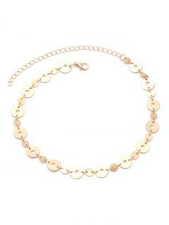 Adjustable Metal Disc Choker Necklace - Golden