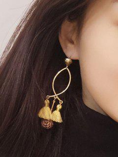 Fish Shape Tassel Ball Metal Stud Drop Earrings - Yellow