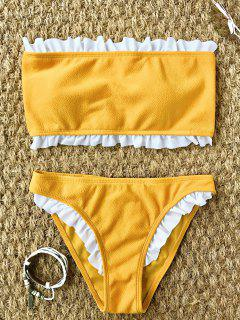 Frilled Textured Lace-up Bikini Set - Yellow L