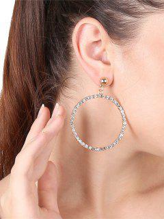 Pendientes De Metal Con Aros Y Pendientes De Diamantes De Imitación - Dorado