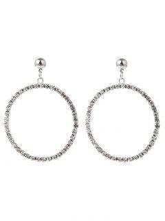 Pendientes De Metal Con Aros Y Pendientes De Diamantes De Imitación - Plata
