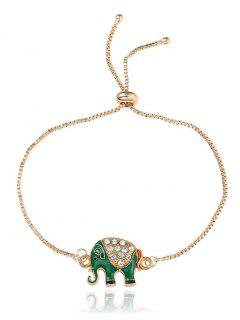 Rhinestone Elephant Box Chain Bolo Bracelet - Golden