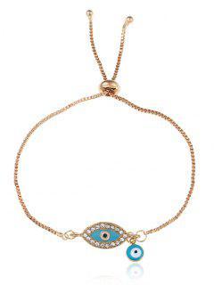 Rhinestone Eye Bolo Charm Bracelet - Golden