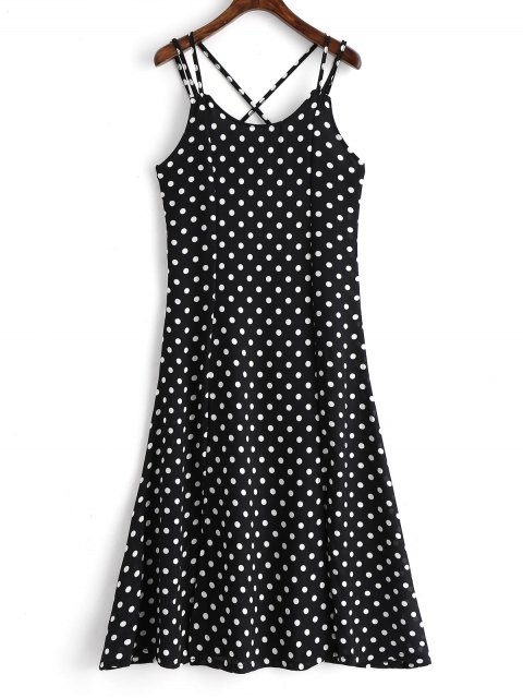 chic High Slit Cross Back Polka Dot Cami Dress - BLACK L Mobile