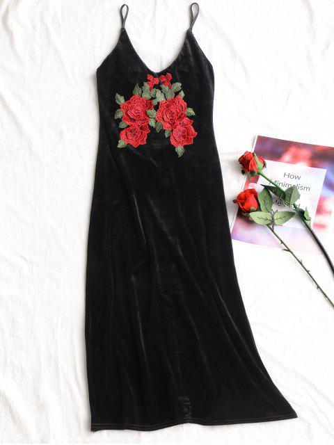 Robe Moulante à Bretelles à Applique en Velours - Noir L Mobile