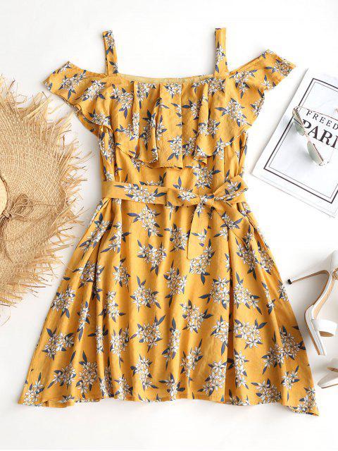 outfit Ruffles Cold Shoulder Floral Belted Dress - FLORAL M Mobile