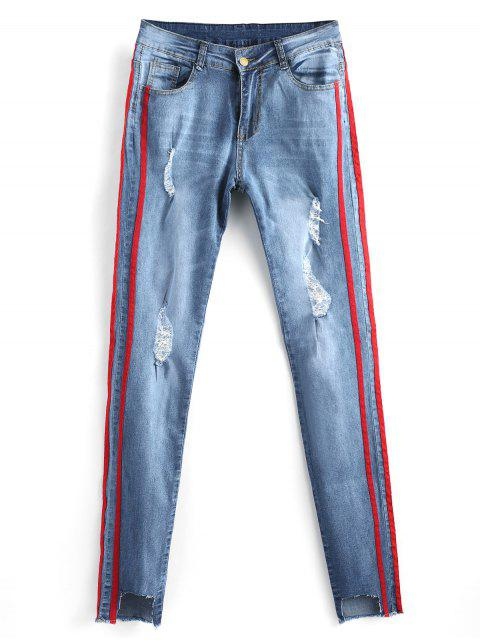 women Cut Out Frayed Ripped Jeans - DENIM BLUE L Mobile