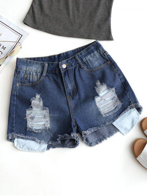 Frayed Hem Denim Ripped Shorts - Azul Profundo M Mobile