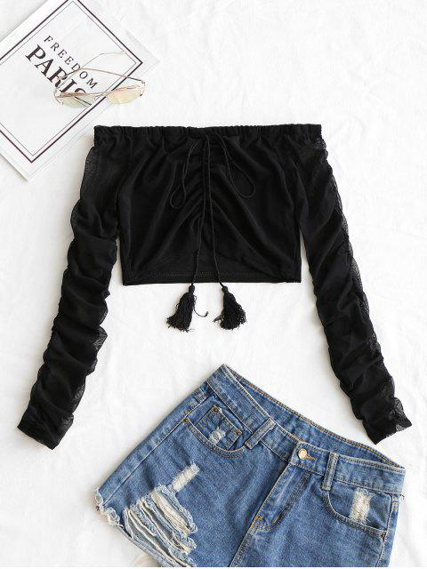 outfit Off Shoulder Ruched Crop Mesh Blouse - BLACK S Mobile