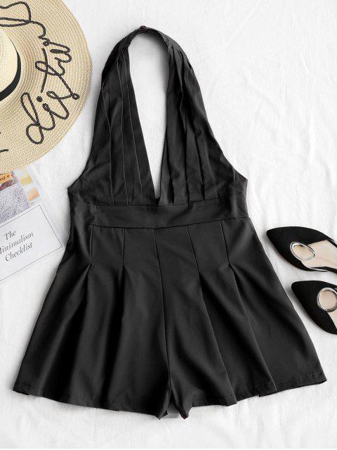 womens Backless High Waist Halter Romper - BLACK XL Mobile