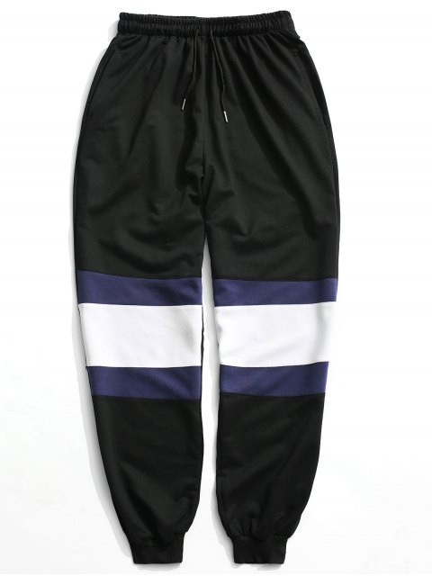 shops Color Block Jogger Pants - BLACK L Mobile