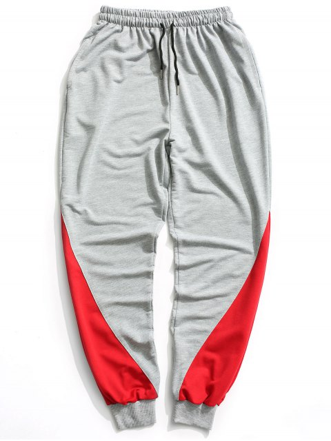 trendy Two Tone Jogger Pants - GRAY XL Mobile