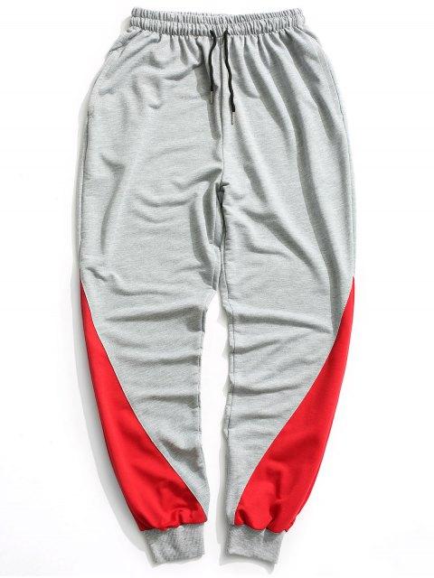 fashion Two Tone Jogger Pants - GRAY L Mobile