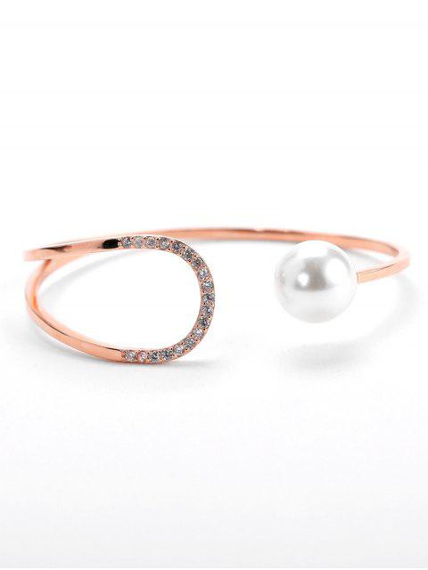 women Valentine's Day Faux Pearl Design Cuff Bracelet - ROSE GOLD  Mobile