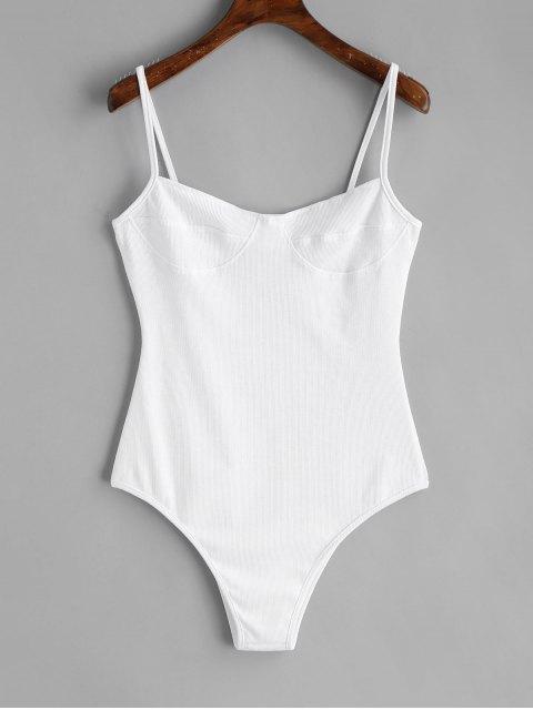 women's Skinny Knitted Bralette Bodysuit - WHITE S Mobile