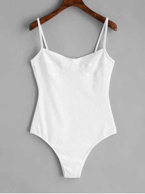 Skinny Strick Bralette Bodysuit - Weiß S Mobile