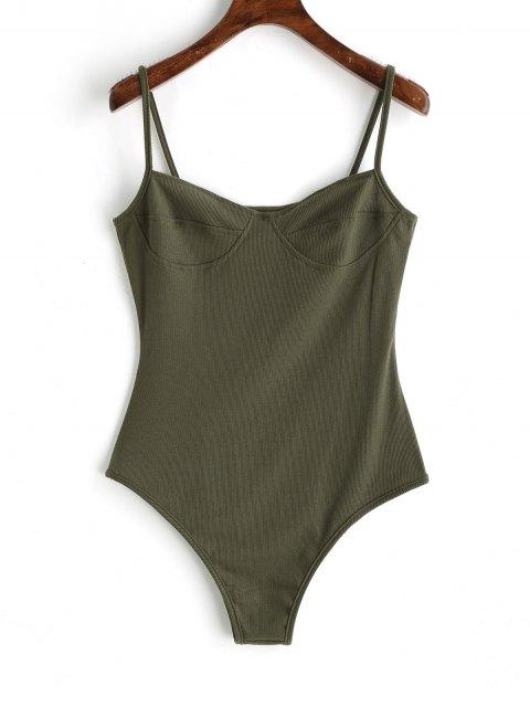 Dünner Strick Bralette Bodysuit - Armeegrün XL Mobile
