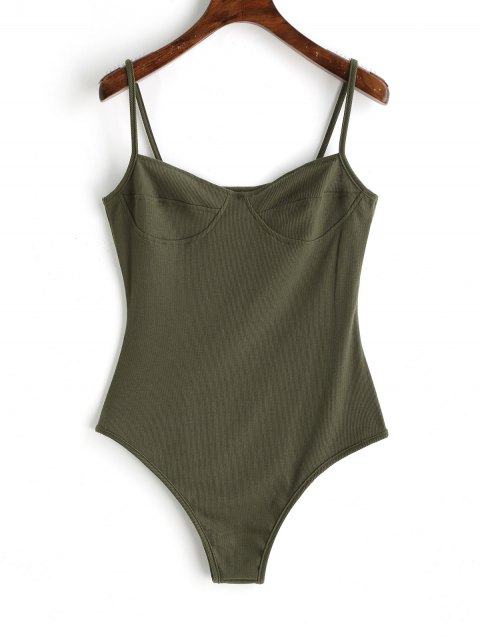 lady Skinny Knitted Bralette Bodysuit - ARMY GREEN L Mobile