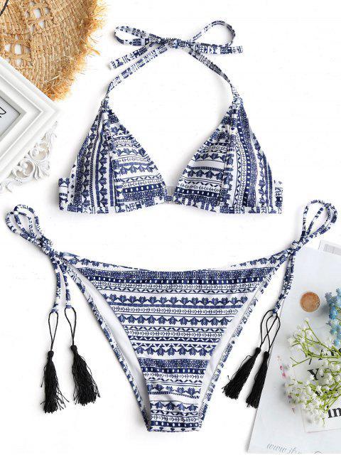 Bikini con estampado de tribanda y parte inferior de cadena - Colores Mezclados S Mobile