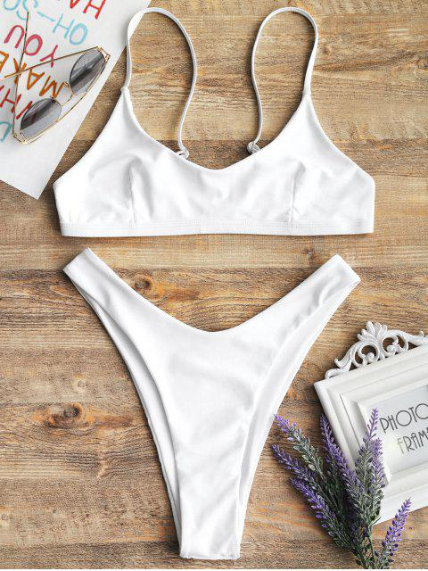 Hohe Schlitz Bralette Bikini Set - Weiß S Mobile