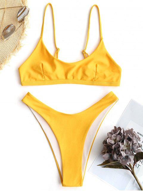 women's High Cut Bralette Bikini Set - YELLOW S Mobile