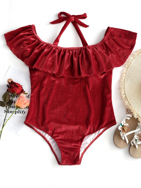 women Ruffle Velvet Plus Size Swimsuit - RED 2XL Mobile