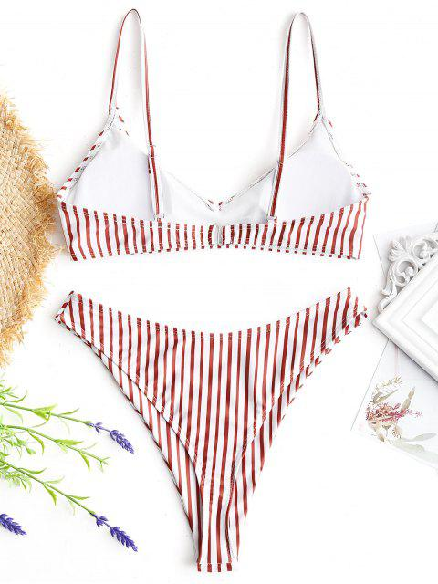 women Striped High Cut Thong Bikini Set - RED AND WHITE S Mobile