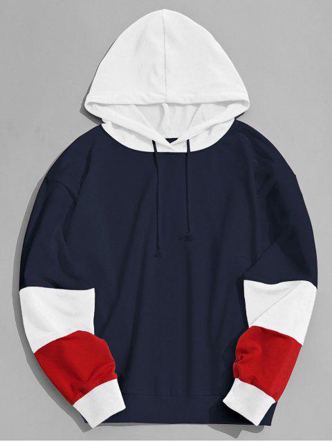 Farbblock Hoodie Männer Kleidung - Schwarzblau S Mobile
