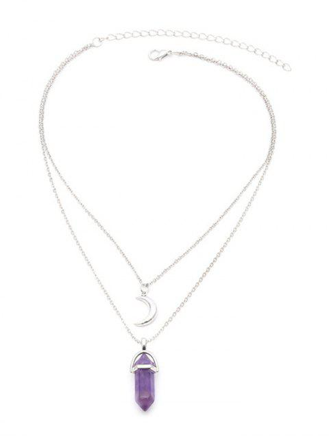 trendy Bullet Faux Gem Moon Layered Collarbone Necklace - SILVER  Mobile