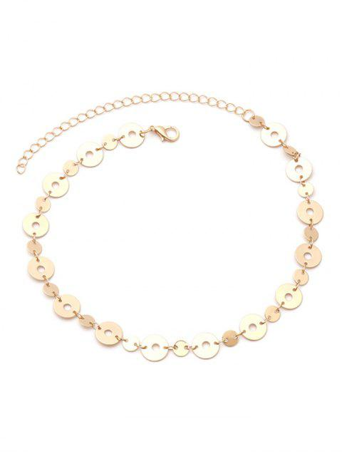 Einstellbare Metall Disc Halsband - Golden  Mobile
