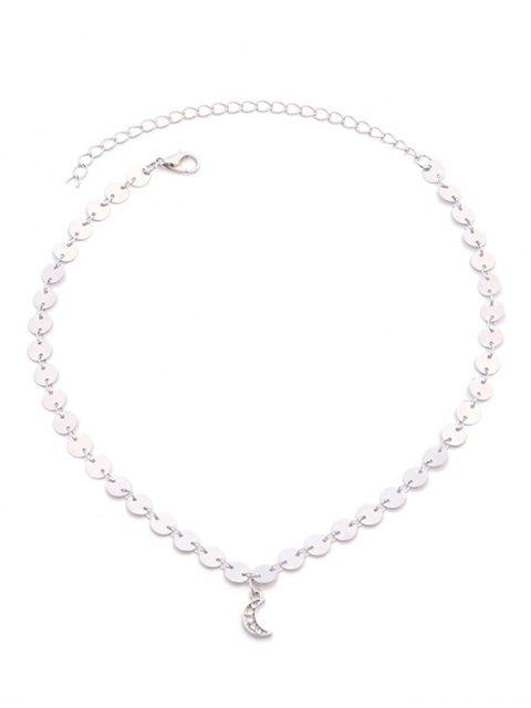 fancy Rhinestone Metal Paillette Moon Pendnat Necklace - SILVER  Mobile