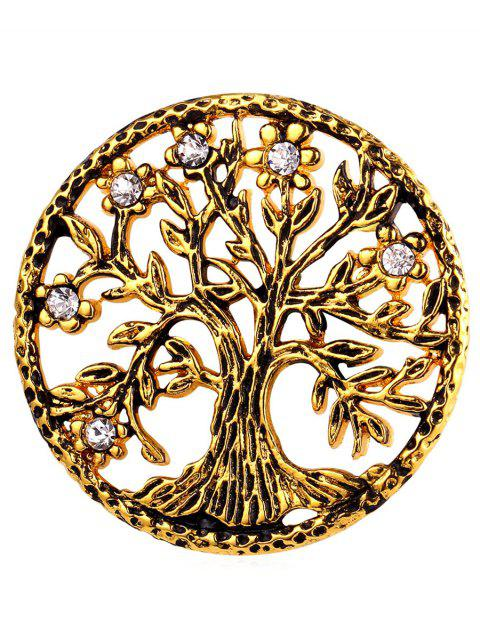 Broche en Acier Inoxydable Motif Arbre de Vie en Strass - Or  Mobile