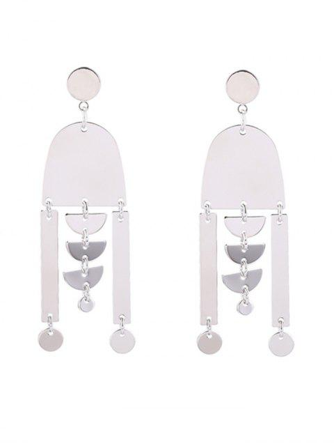women Layered Paillette Geometric Drop Earrings - SILVER  Mobile