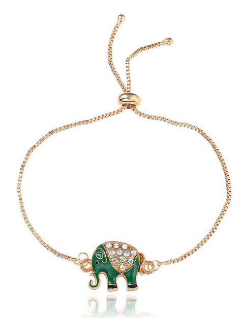 Strass Elefant Chain Bolo Armband - Golden  Mobile