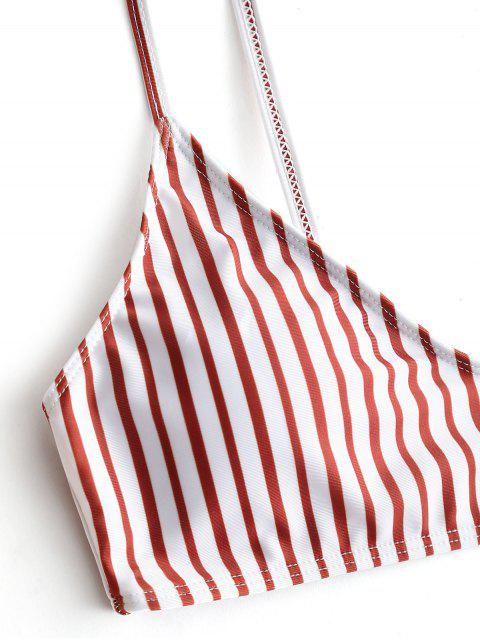 Полосатое бикини с высоким вырезом - красный и белый M Mobile
