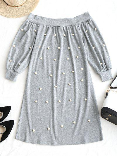 Zaful Off Shoulder Beading Mini Dress