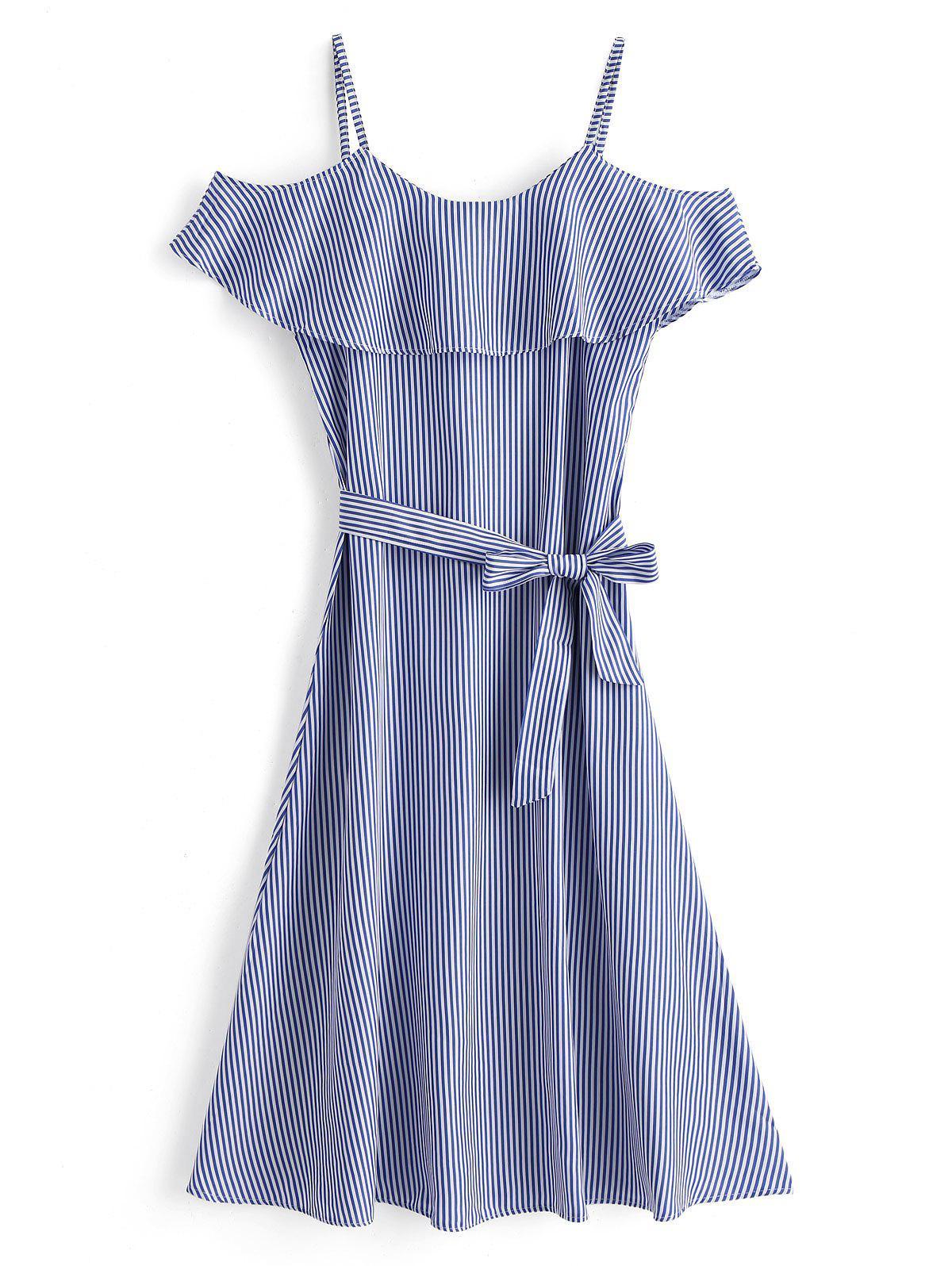 Falbala Cold Shoulder Striped Maxi Dress 251064203