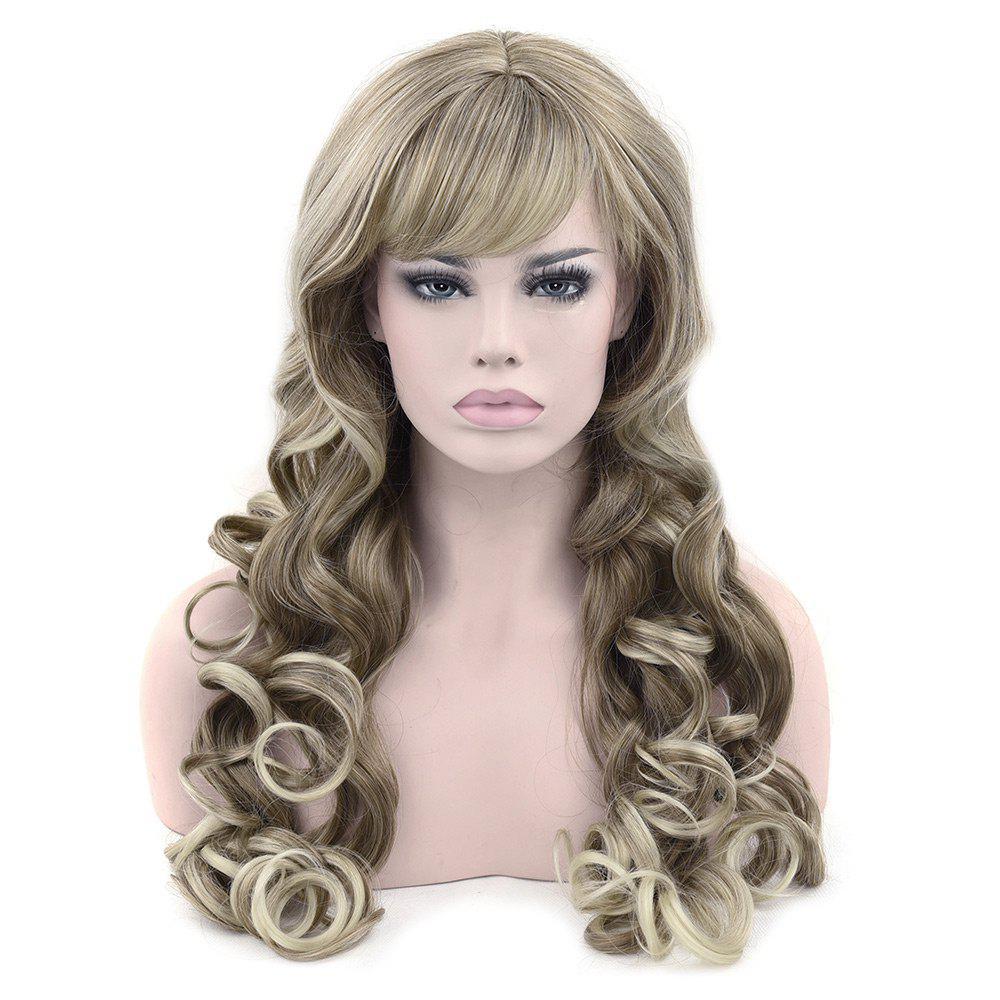 Long Side Bang Colormix Loose Wavy Synthetic Wig 251786501