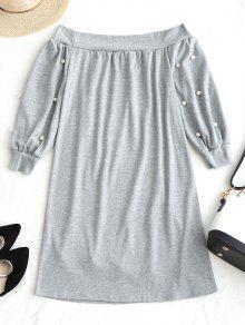 Rebordear Claro Vestido Mini Hombro Gris S zA8Aqx5Hn