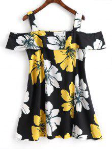 فستان مصغر طباعة الأزهار باردة الكتف كشكش - الأزهار L