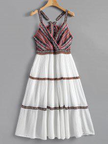 فستان بوهيمي توهج بلا أكمام طباعة - أبيض L