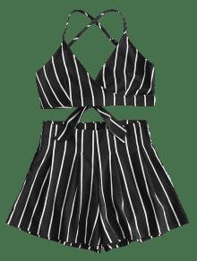 L Set Y Cami Negro Backless Shorts Striped Top q0vwxO