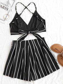 Backless Y Set Negro L Cami Striped Shorts Top RqaOSH
