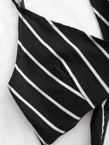Negro L Striped Set Y Backless Cami Shorts Top n8qw80Yr